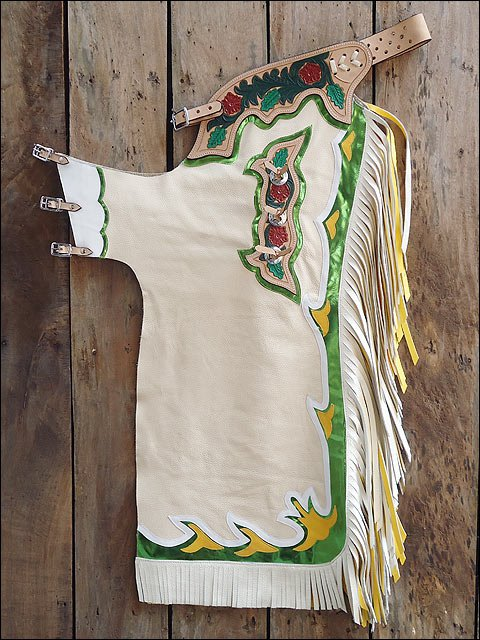 F01 HILASON BRONC BULL RIDING SMOOTH LEATHER RODEO WESTERN CHAPS TAN WHITE GREEN