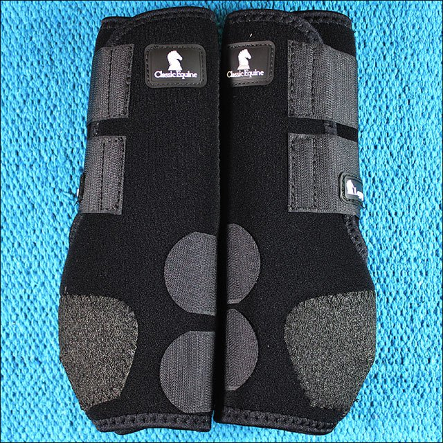 LARGE BLACK CLASSIC EQUINE LEGACY SYSTEM HORSE HIND LEG SPORT BOOT PAIR