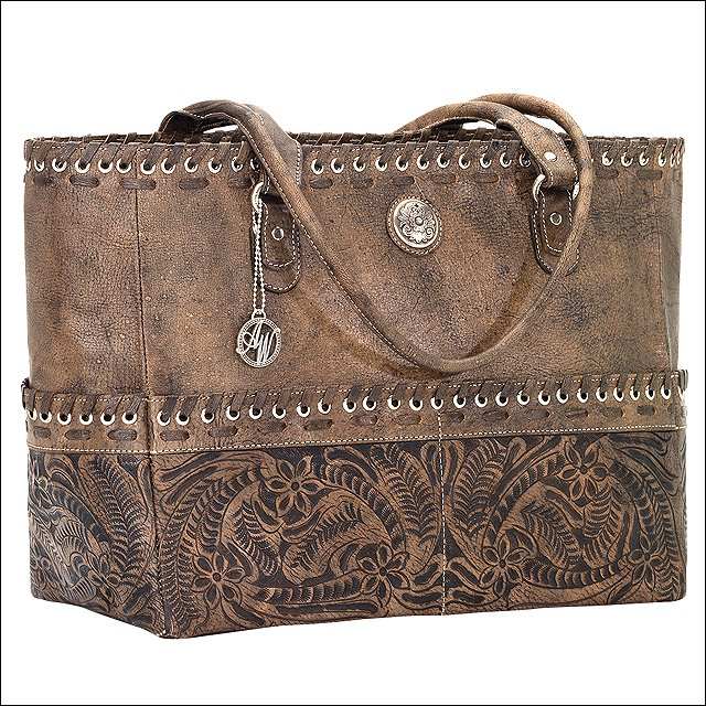 AMERICAN WEST LEATHER CARY ON TOTE HAND TOOLED CONCHO DUFFEL LUGGAGE BAG BROWN