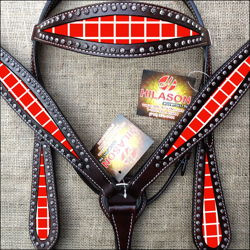 HILASON WESTERN LEATHER HORSE HEADSTALL BREAST COLLAR RED WHITE BLOCKS PAINTED