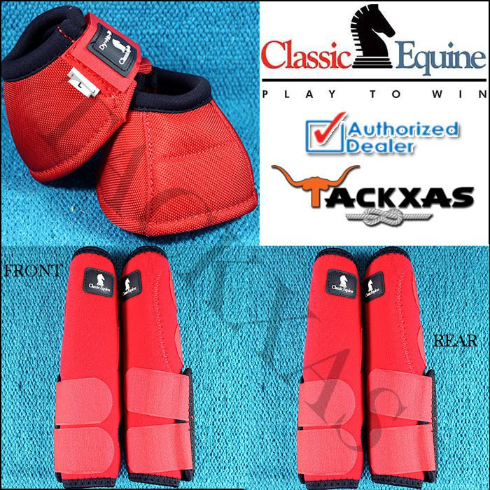 SMALL RED CLASSIC EQUINE FRONT REAR LEGACY SPORTS HORSE LEG NO TURN BELL BOOTS