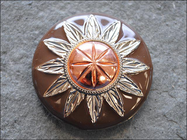 SET OF 2 THREE TONE FINISHING ROUND CONCHOS COPPER DOME SILVER AND BROWN