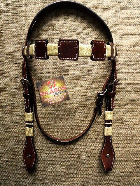 S2 HILASON WESTERN LEATHER HORSE BRIDLE HEADSTALL W/ RAWHIDE BRAIDING DARK BROWN