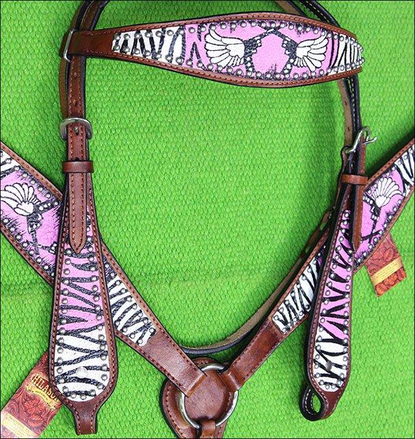 M21 HILASON WESTERN ZEBRA LEATHER HORSE HEADSTALL BREAST COLLAR ANGEL CROSS GUN