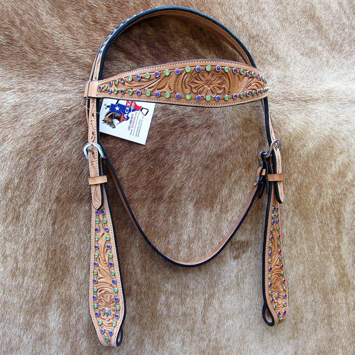 V1 HILASON WESTERN LEATHER HORSE BRIDLE HEADSTALL TAN HAND FLORAL CARVED