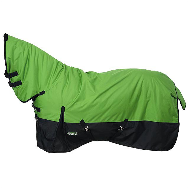 72 in GREEN TOUGH-1 600D WATERPROOF POLY FULL NECK TURNOUT WINTER HORSE BLANKET