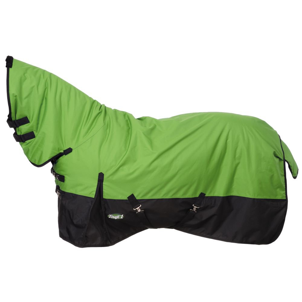 """75"""" TOUGH-1 600D WATERPROOF POLY HORSE FULL NECK TURNOUT BLANKET NEON GREEN"""