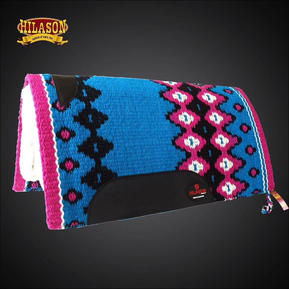 MADE IN USA FE335-F HILASON WESTERN WOOL GEL SADDLE BLANKET PAD TERQUOISE PINK