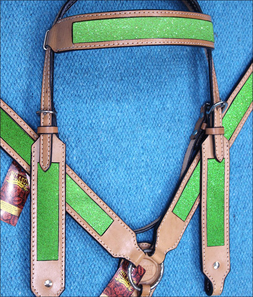 HILASON WESTERN LEATHER HORSE HEADSTALL BREAST COLLAR TAN W/ LIME GREEN INLAY
