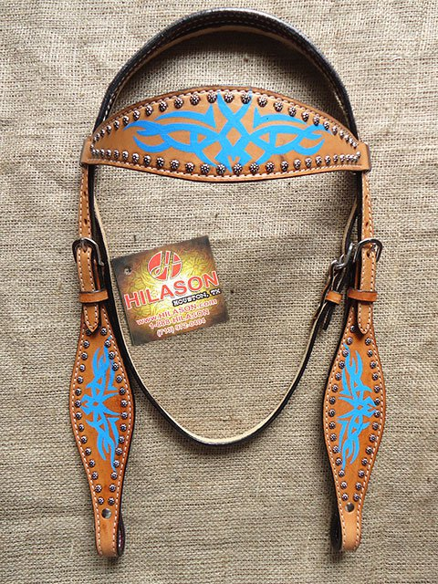 S44 HILASON WESTERN LEATHER HORSE BRIDLE HEADSTALL TAN W/ TURQUOISE HAND PAINT