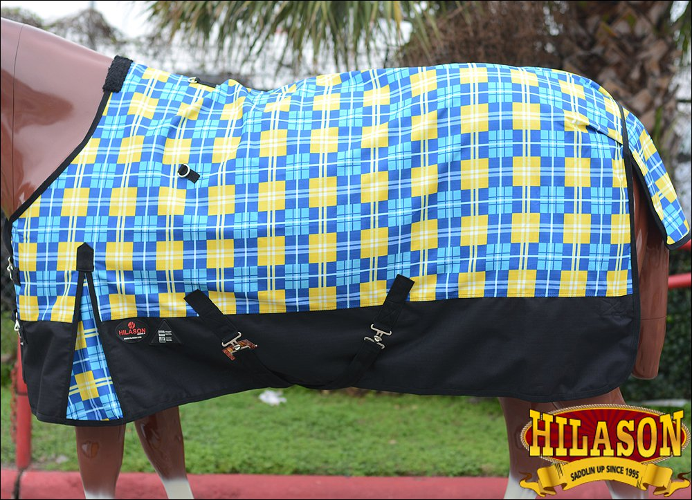 """84"""" HILASON 1200D POLY RIPSTOP WATERPROOF HORSE COLD WINTER BLANKET BLUE YELLOW"""