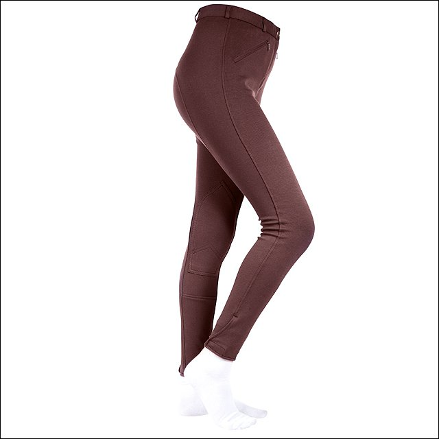 """34"""" HORZE ACTIVE WOMENS SELF KNEE PATCH LONG COTTON CASUAL BREECHES CHOCO BROWN"""