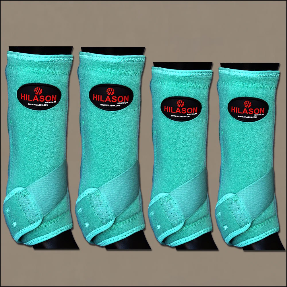 SMALL HILASON TURQUOISE HORSE FRONT REAR LEG PROTECTION ULTIMATE SPORTS BOOT 4PK