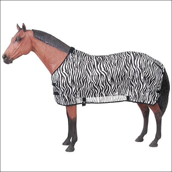 81 INCH BLACK WHITE TOUGH-1 ZEBRA MESH LIGHT WEIGHT FLY PROTECTIVE SHEET HORSE
