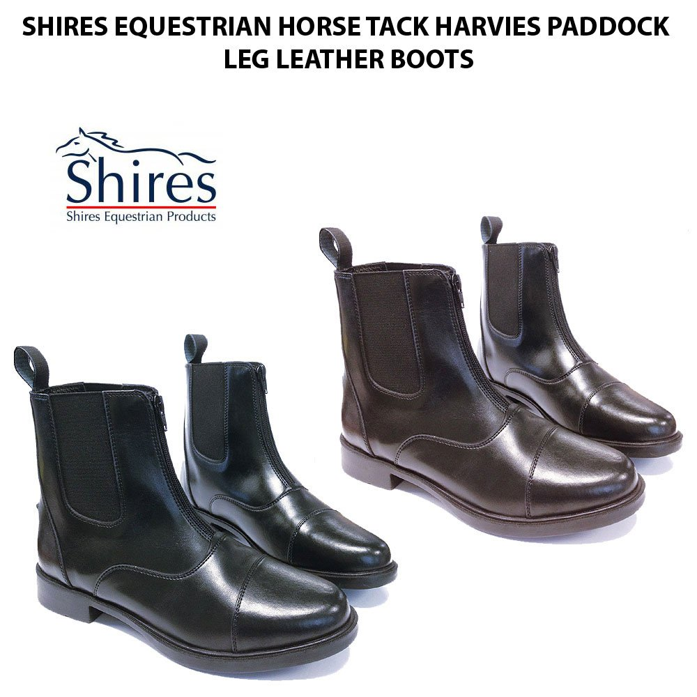 SHIRES EQUESTRIAN TACK CHILDRENS HARVIES PADDOCK LEATHER BOOTS