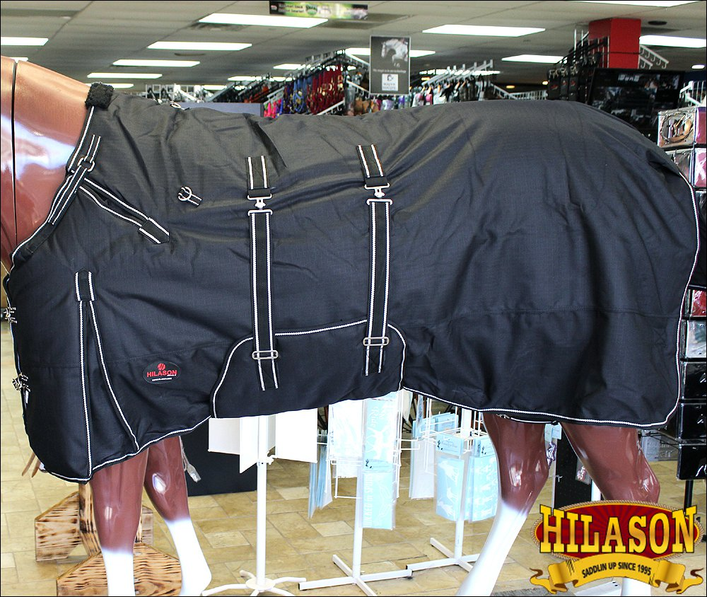 "72"" HILASON 1200D RIPSTOP WATERPROOF POLY HORSE BLANKET WITH BELLY WRAP BLACK"