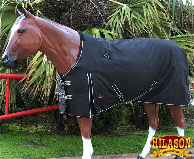 "69""HILASON 1200D WINTER WATERPROOF 400GSM POLY TURNOUT HORSE BLANKET BLACK"