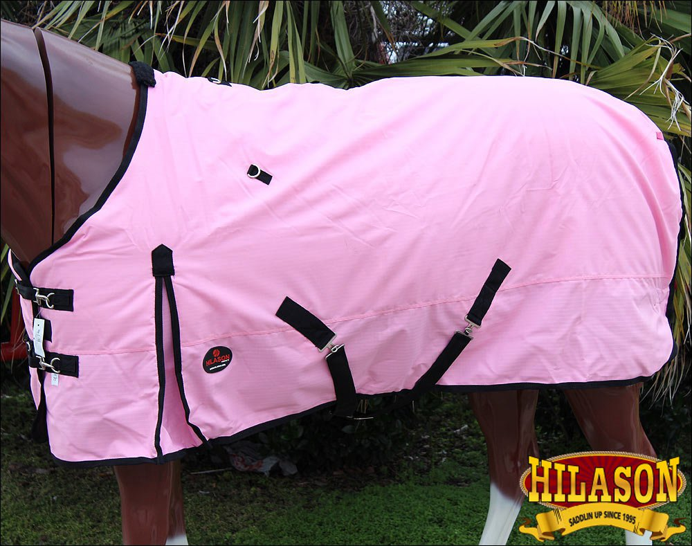 68 in HILASON 600D RIPSTOP WATERPROOF POLY TURNOUT HORSE WINTER SHEET PINK