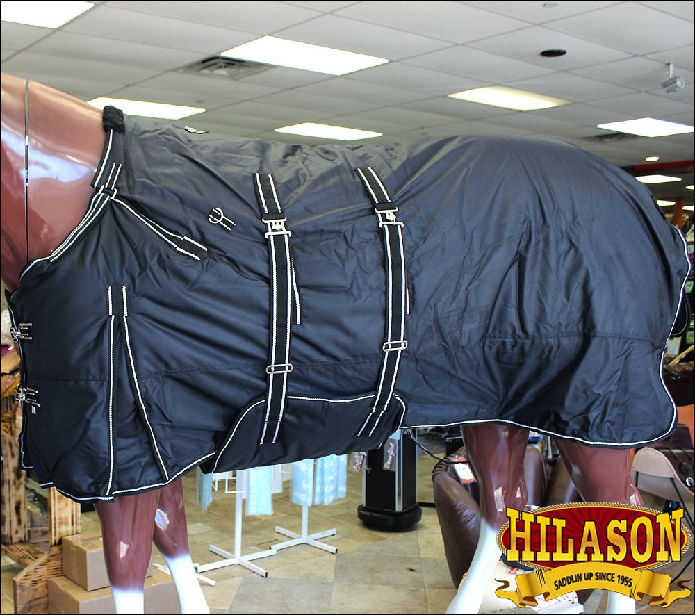 "69"" HILASON 1680D RIPSTOP WATERPROOF POLY HORSE WINTER SHEET BELLY WRAP BLACK"