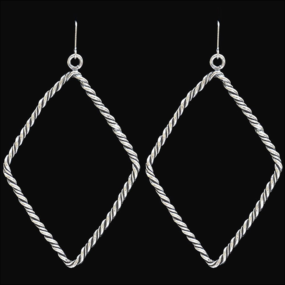 3D LOULABELLE FRENCH HOOK HYPOALLERGENIC DIAMOND SHAPE SILVER ROPE EARRING
