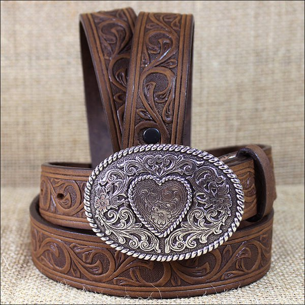 "30"" JUSTIN BROWN LEATHER GIRL'S TROPHY WESTERN BELT WITH OVAL BUCKLE"