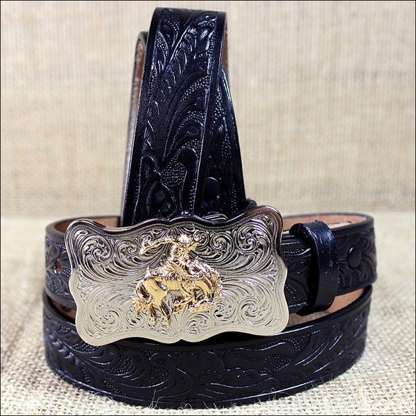 0189C 24 x 1 INCH JUSTIN BLACK BOY'S WESTERN EMBOSSED COWHIDE LEATHER BELT