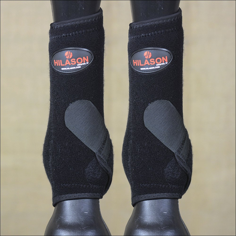 SMALL HILASON BLACK HORSE REAR LEG PROTECTION ULTIMATE SPORTS BOOT PAIR