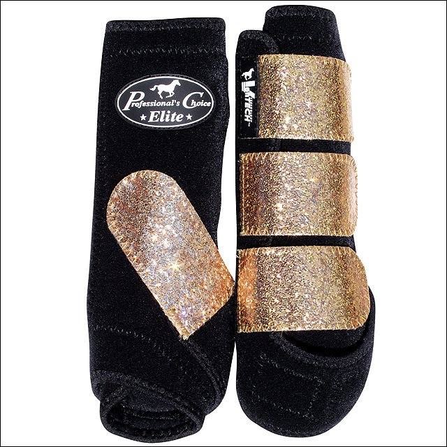 MED PROFESSIONAL CHOICE SPORTS MEDICINE HORSE LEG BOOTS 4 PACK GLITTER CHAMPAGNE
