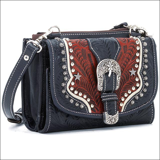 AW769 AMERICAN WEST NAVY BLUE LEATHER LADIES SMALL HANDBAG WALLET COMBO PURSE