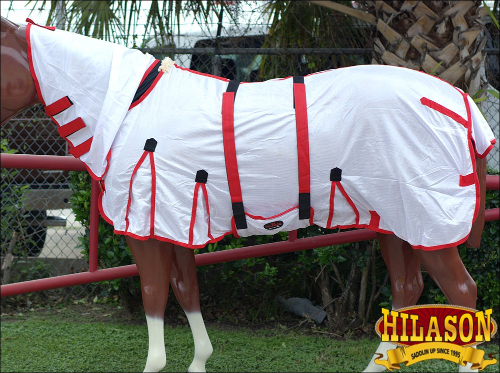 """81"""" HILASON POLY AIRFLOW MESH HORSE FLY SHEET W/  BELLY WRAP & NECK COVER WHITE"""
