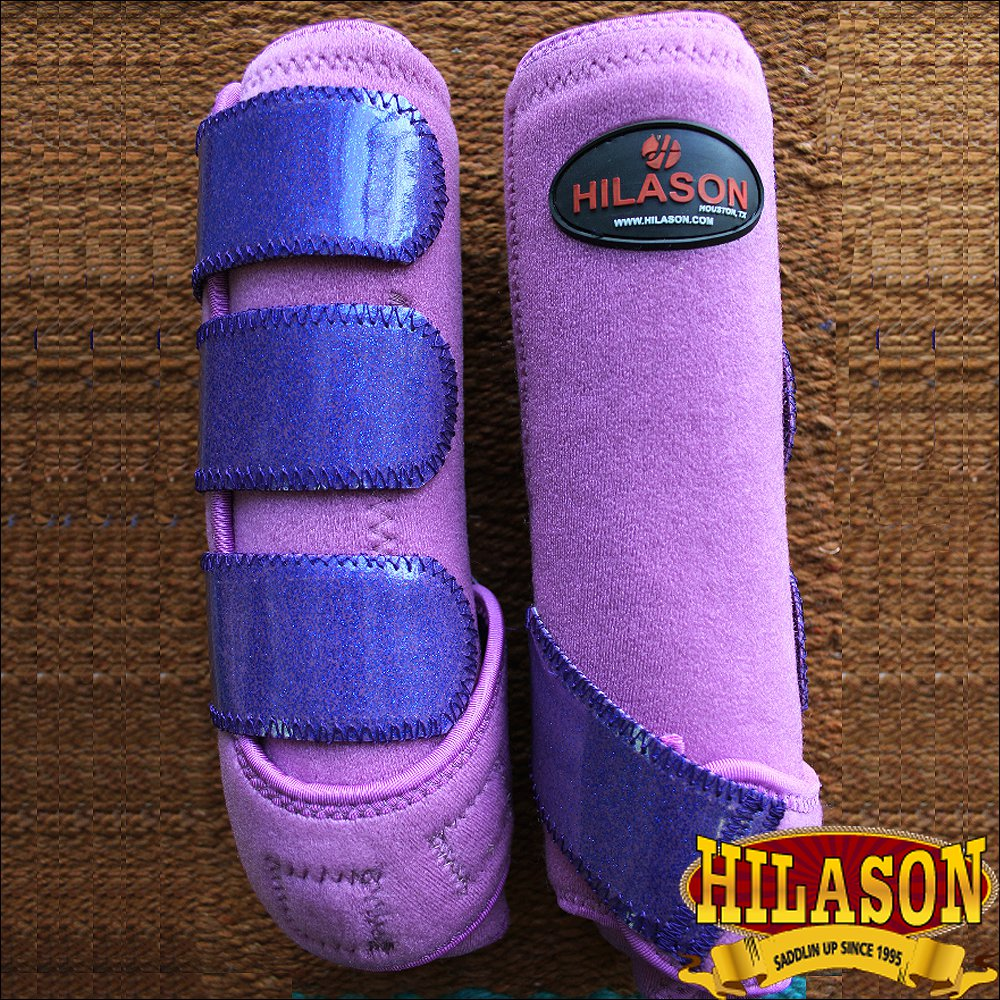 SMALL HILASON GLITTER PURPLE HORSE REAR LEG PROTECTION ULTIMATE SPORTS BOOT PAIR