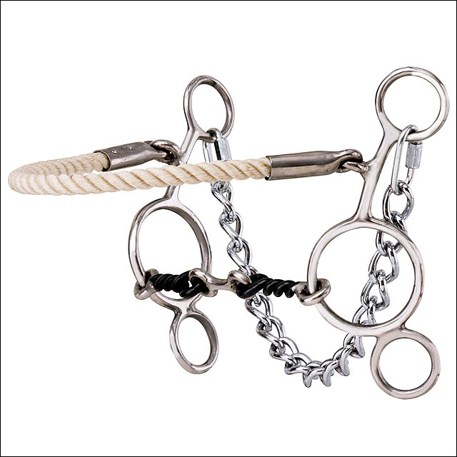 HILASON STAINLESS STEEL HACKAMORE/SLIDING GAG TWISTED WIRE MOUTH HORSE BIT