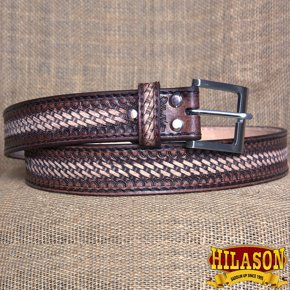 GM202DBRO-F HILASON HAND MADE HEAVY DUTY BUFFALO HIDE LEATHER STICHED BELT 34""