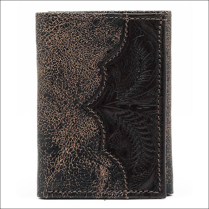 AMERICAN WEST CHOCOLATE BROWN LEATHER MEN TRI-FOLD WALLET 7 CARD SLOTS