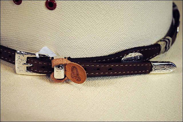 JUSTIN BUCKAROO SILVER PLATED COWBOY LEATHER HATBAND BROWN W/ BUCKLE