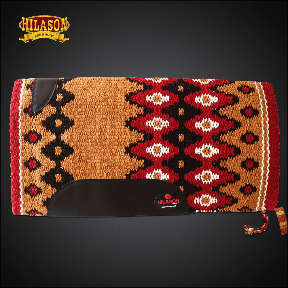FE321-F HILASON WESTERN NEW ZEALAND WOOL HORSE SADDLE BLANKET CRIMSON BROWN