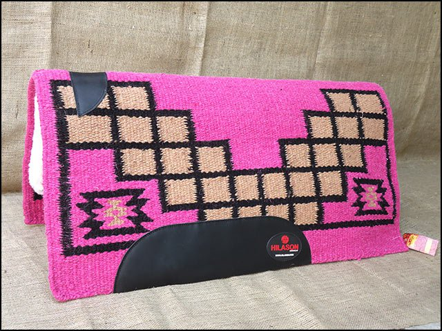 MADE IN USA F242 HILASON WESTERN WOOL FELT SADDLE BLANKET PAD PINK BROWN