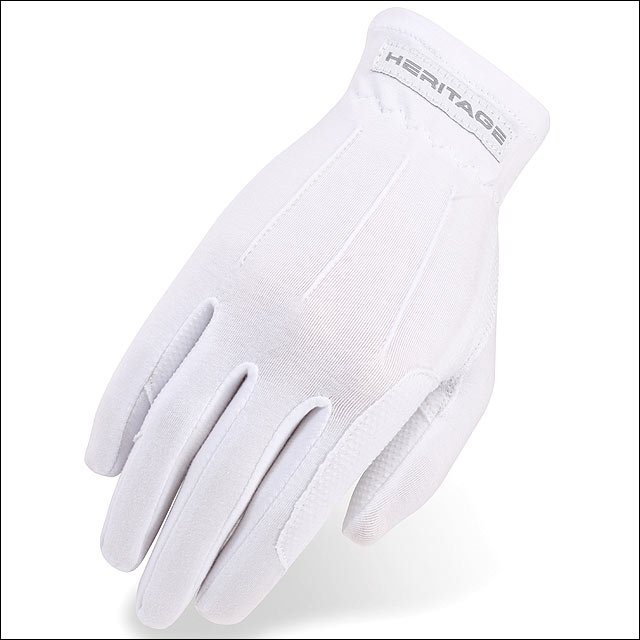 08 SIZE HERITAGE POWER GRIP STRETCHABLE NYLON HORSE RIDING EQUESTRIAN GLOVE WHIT
