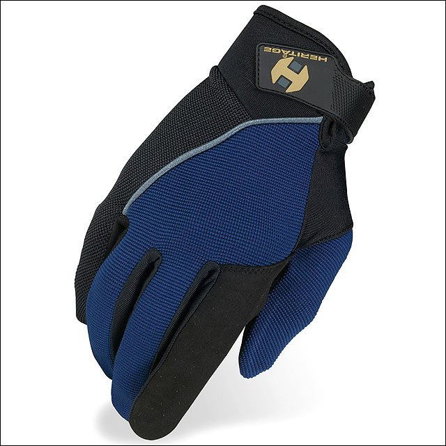 09 SIZE HERITAGE COMPETITION HORSE RIDING GLOVE LYCRA NYLON LEATHER NAVY/BLACK