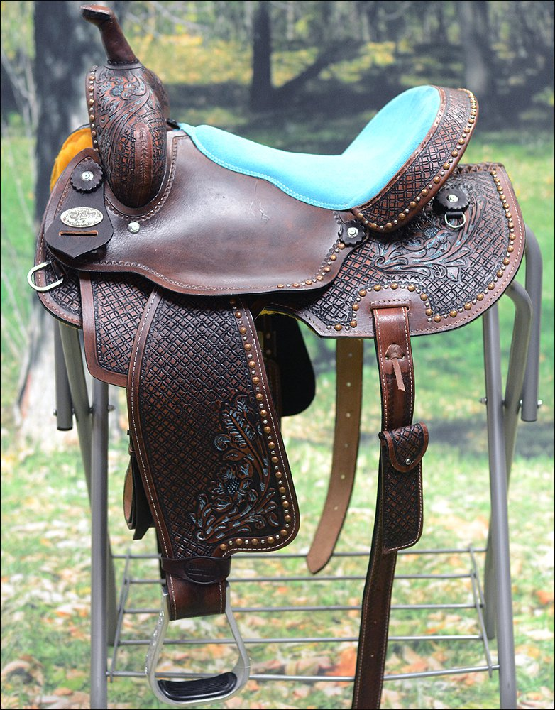 BH109-F HILASON WESTERN LEATHER BARREL RACING TRAIL PLEASURE RIDING SADDLE 15""