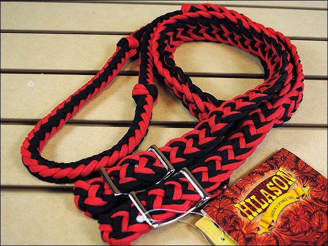 """New Braided Poly Barrel Racing Contest Rein Flat Grip Knots 1"""" X 8ft. Red Black"""