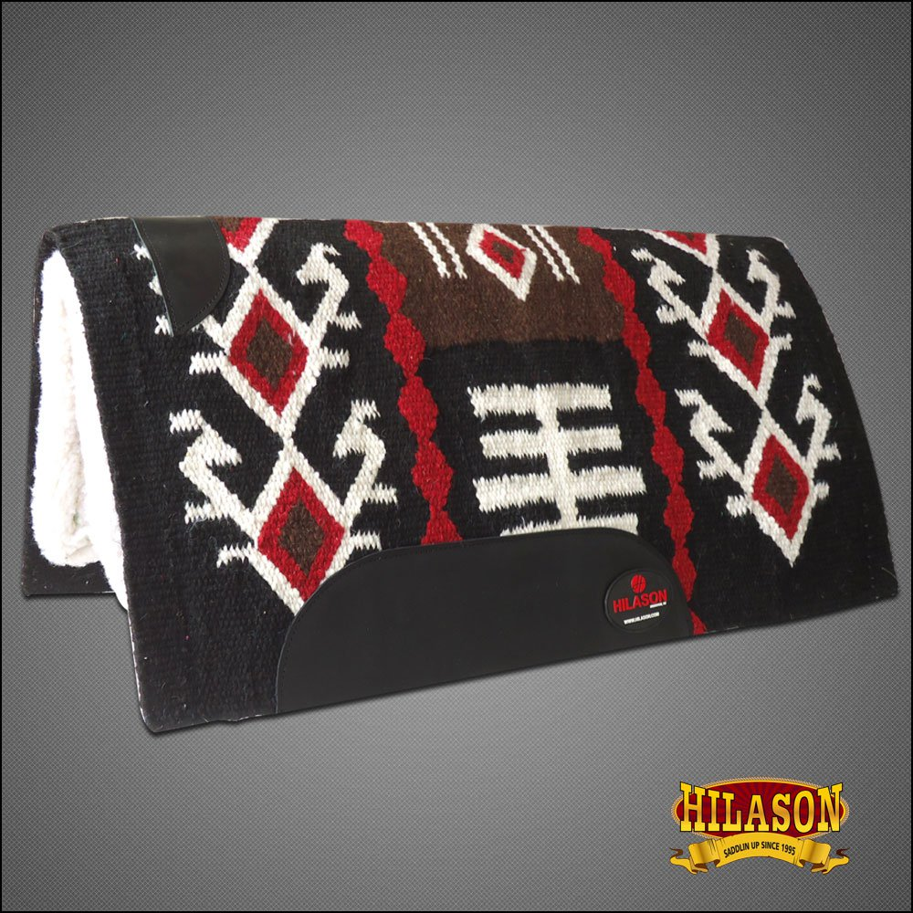 MADE IN USA FE219F- HILASON WESTERN WOOL FELT SADDLE BLANKET PAD BLACK BROWN