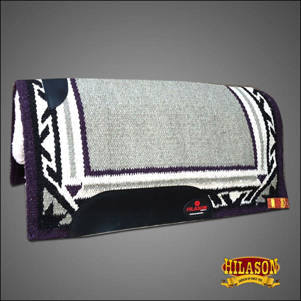 MADE IN USA FE221 HILASON WESTERN WOOL FELT SADDLE BLANKET PAD GRAY PURPLE WHITE