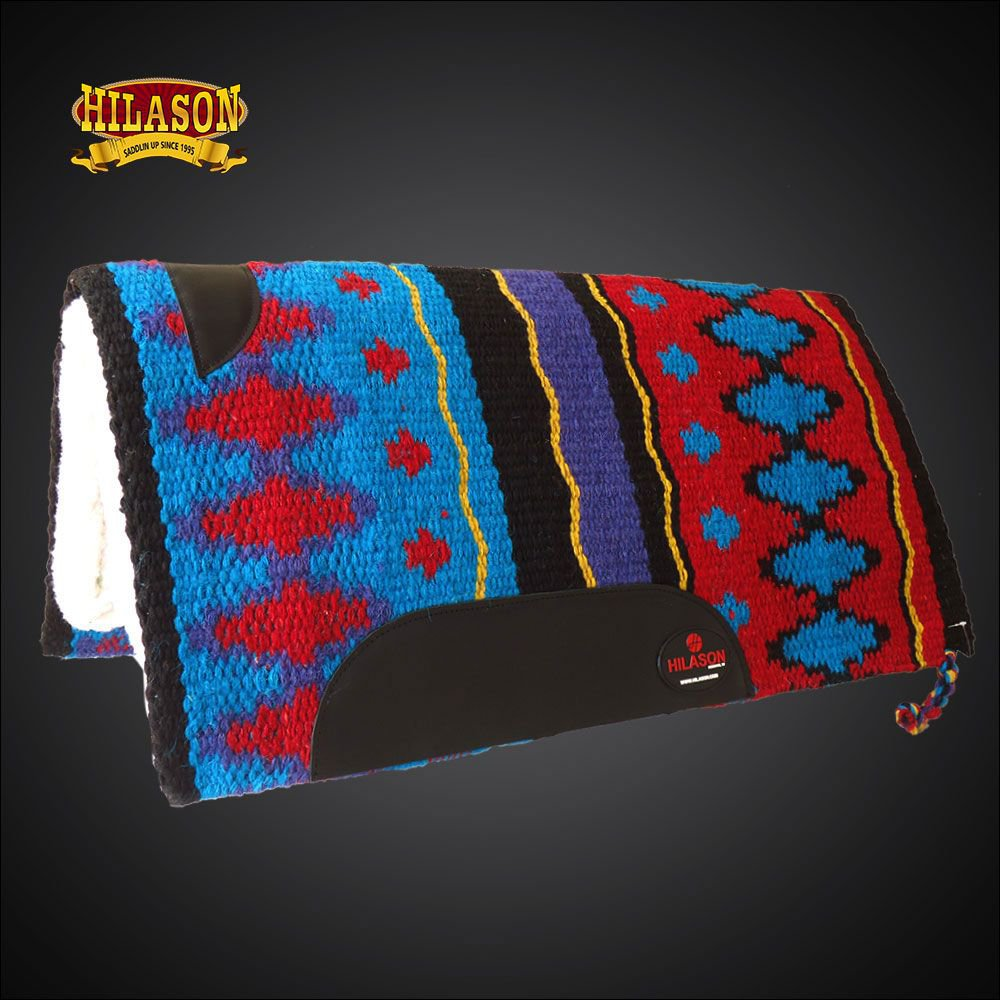 MADE IN USA FE336-F HILASON WESTERN WOOL FELT SADDLE BLANKET PAD TERQUOISE RED