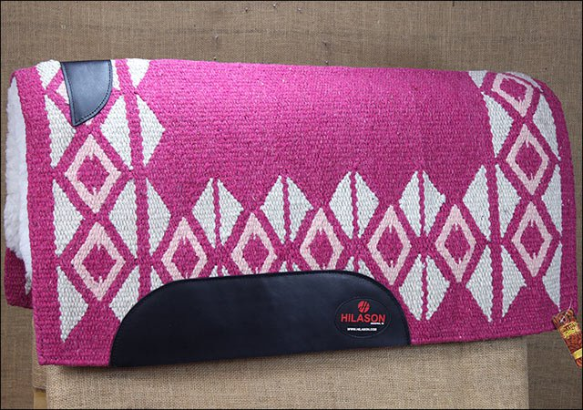 MADE IN USA FE210-F HILASON WESTERN WOOL FELT SADDLE BLANKET PAD PINK WHITE