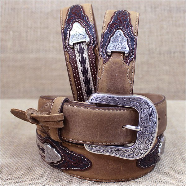 42 inch C11414 BROWN JUSTIN THE WESTERNER LEATHER MEN'S BELT COWBOY TRAIL RIDER