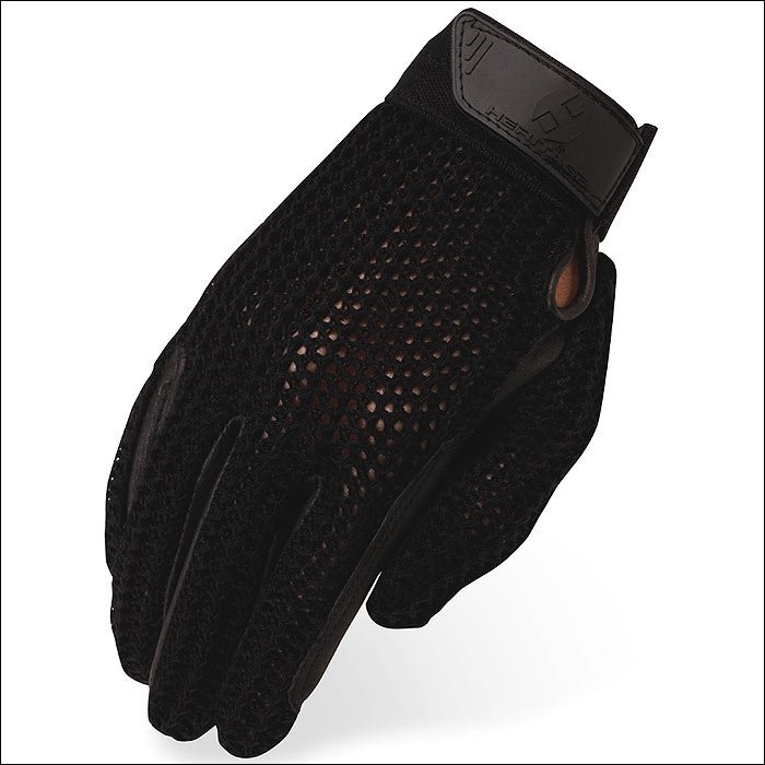 SIZE 07 HERITAGE CROCHET RIDING GLOVES HORSE EQUESTRIAN BLACK