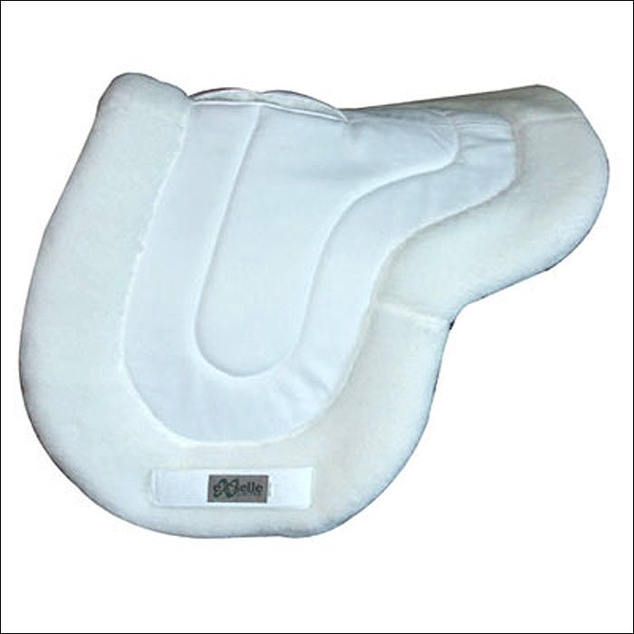 WHITE HILASON EXSELLE ALL PURPOSE HORSE COTTON SADDLE PAD FLEECE BOTTOM