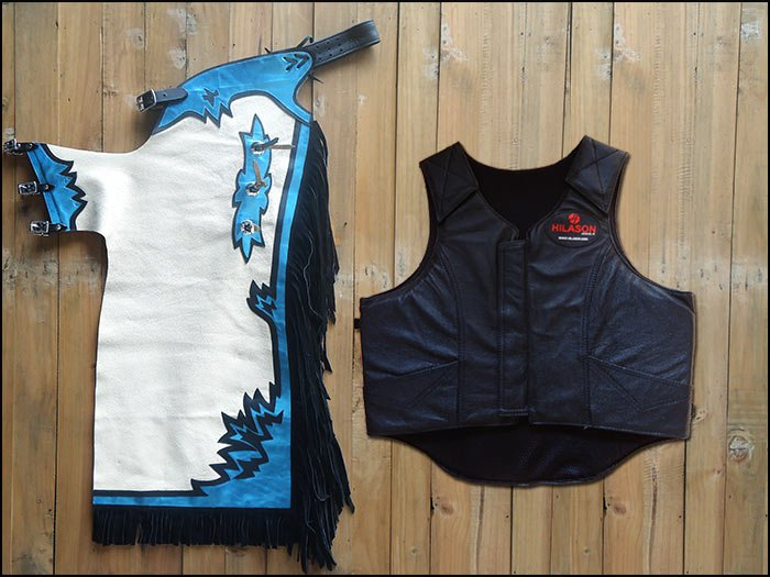 F21 HILASON WESTERN RODEO BRONC BULL RIDING SMOOTH LEATHER CHAPS PROTECTIVE VEST