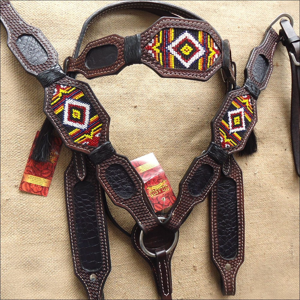 HILASON WESTERN RAWHIDE LEATHER HORSE HEADSTALL BREAST COLLAR BEADED BROWN